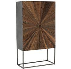 Armoire bar 2 portes bois massif foncé et pieds métal gris Sanil