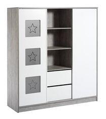 Armoire bébé 2 portes 2 tiroirs bois gris et blanc Eco Star