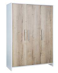 Armoire bébé 3 portes bois blanc et chêne clair Eco Plus