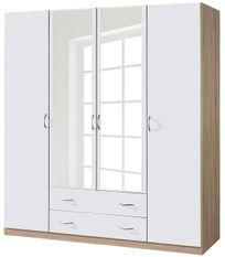 Armoire Blanche et Chêne de Sonoma 4 portes battantes 2 tiroirs Kaze
