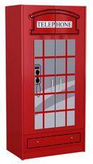 Armoire cabine téléphonique 2 portes bois rouge Londres L 90 cm