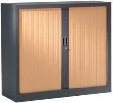 Armoire de bureau à rideaux anthracite 2 portes coulissantes hêtre Klass L 90 x H 100 x P 45 cm