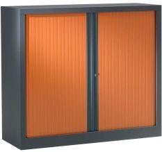 Armoire de bureau à rideaux anthracite 2 portes coulissantes merisier Klass L 90 x H 100 x P 45 cm
