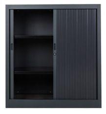 Armoire de bureau à rideaux noir 2 portes coulissantes Klass L 90 x H 100 x P 45 cm