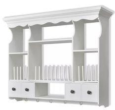 Etagère murale de cuisine murale 4 tiroirs 4 étagères bois blanc Kapci
