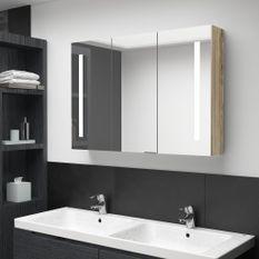 Armoire de salle de bain à miroir LED 89x14x62 cm Chêne