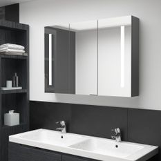 Armoire de salle de bain à miroir LED 89x14x62 cm Gris