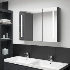 Armoire de salle de bain à miroir LED 89x14x62 cm Gris brillant