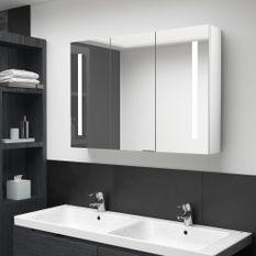 Armoire de salle de bain à miroir LED 89x14x62cm Blanc brillant
