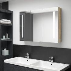 Armoire de salle de bain à miroir LED 89x14x62cm Blanc et chêne