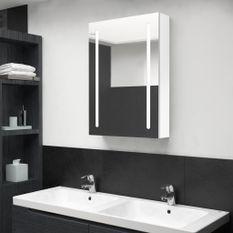 Armoire de salle de bain à miroir LED Blanc brillant 50x13x70cm