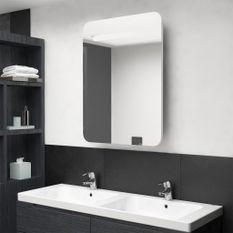 Armoire de salle de bain à miroir LED Blanc brillant 60x11x80cm