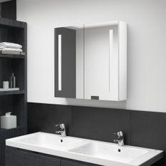Armoire de salle de bain à miroir LED Blanc brillant 62x14x60cm