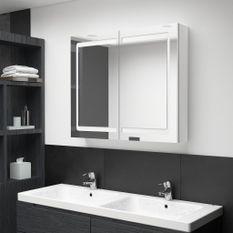 Armoire de salle de bain à miroir LED Blanc brillant 80x12x68cm