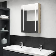 Armoire de salle de bain à miroir LED Blanc et chêne 50x13x70cm