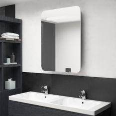 Armoire de salle de bain à miroir LED Blanc et chêne 60x11x80cm