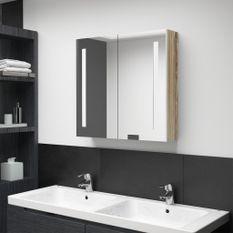 Armoire de salle de bain à miroir LED Blanc et chêne 62x14x60cm