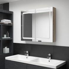 Armoire de salle de bain à miroir LED Blanc et chêne 80x12x68cm