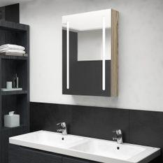 Armoire de salle de bain à miroir LED Chêne 50x13x70 cm