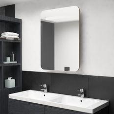 Armoire de salle de bain à miroir LED Chêne 60x11x80 cm