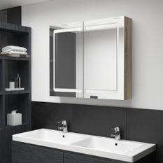 Armoire de salle de bain à miroir LED Chêne 80x12x68 cm
