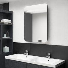 Armoire de salle de bain à miroir LED Gris 60x11x80 cm