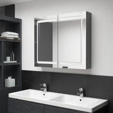 Armoire de salle de bain à miroir LED Gris 80x12x68 cm
