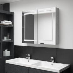 Armoire de salle de bain à miroir LED Gris béton 80x12x68 cm