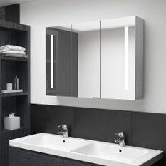 Armoire de salle de bain à miroir LED Gris béton 89x14x62 cm