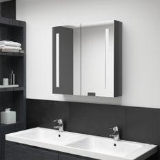 Armoire de salle de bain à miroir LED Gris brillant 62x14x60 cm