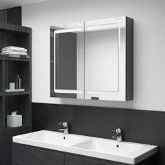 Armoire de salle de bain à miroir LED Gris brillant 80x12x68 cm