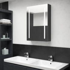 Armoire de salle de bain à miroir LED Noir brillant 50x13x70 cm