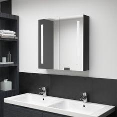 Armoire de salle de bain à miroir LED Noir brillant 62x14x60 cm