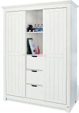 Armoire enfant 2 portes 3 tiroirs pin massif blanc Nina