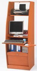 Armoire informatique à rideaux bois merisier Patrick 60 cm
