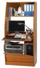 Armoire informatique à rideaux bois merisier Patrick 80 cm