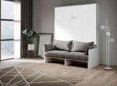 Armoire lit 160x200 cm escamotable verticale avec canapé frêne blanc et porte blanche Skoda