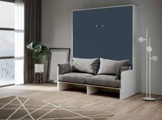 Armoire lit 160x200 cm escamotable verticale avec canapé frêne blanc et porte bleue Skoda