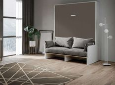 Armoire lit 160x200 cm escamotable verticale avec canapé frêne blanc et porte marron Skoda