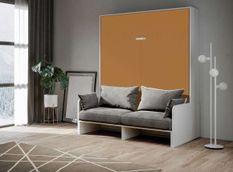 Armoire lit 160x200 cm escamotable verticale avec canapé frêne blanc et porte orange Skoda