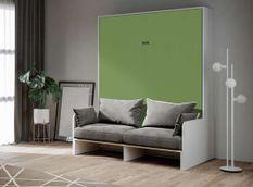 Armoire lit 160x200 cm escamotable verticale avec canapé frêne blanc et porte verte Skoda