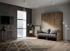 Armoire lit escamotable verticale avec canapé bois noyer mat 140x190 cm Skoda