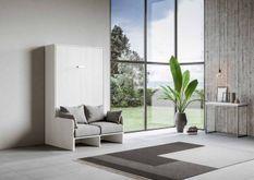 Armoire lit escamotable verticale avec canapé frêne blanc mat 160x200 cm Skoda