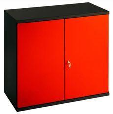 Armoire de bureau métallique 2 portes rouge et noir Folia L 80 x H 72 x P 41 cm