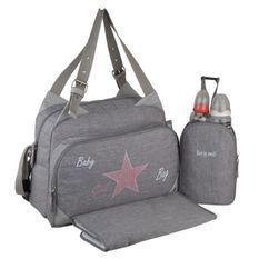 Baby on board-sac a langer - sac titou stone chiné - 2 compartiments 8 poches - sac repas - tapis a langer sac linge sale attaches
