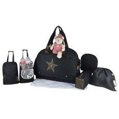 Baby on board -sac a langer - week end team éclipse - sac de voyage bébé - noir détails cuir kaki sac grand format adapte aux voyag