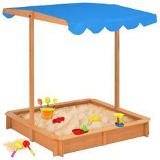 Bac à sable avec toit ouvrant Bois de sapin Bleu UV50