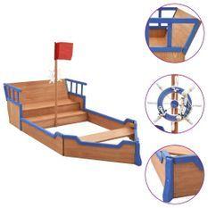 Bac à sable bateau pirate Bois de sapin 190x94,5x136 cm