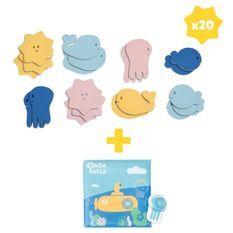 Badabulle Lot de jouets de bain, 1 livre de bain et 1 marionnette + 20 stickers de bain