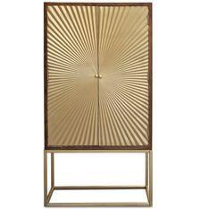 Bahut 2 portes bois foncé et métal doré Falya